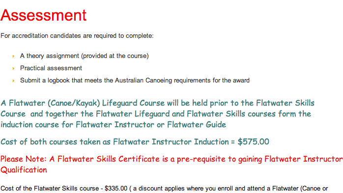 Flatwater Skills Courses